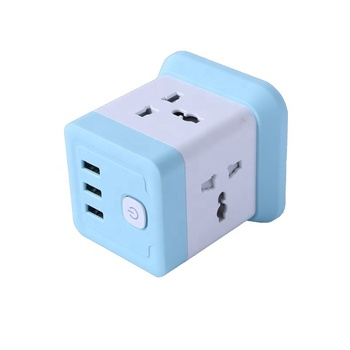 Seebest Rubik's Cube Portable Universal Extension Power Socket USB Smart Switch Socket With Electrical Extension Cord And 3 USB