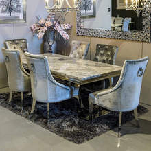 240cm 180cm Arianna Grey Rectangle Luxury Real Natural Marble Top Dining <strong>Table</strong> Sets