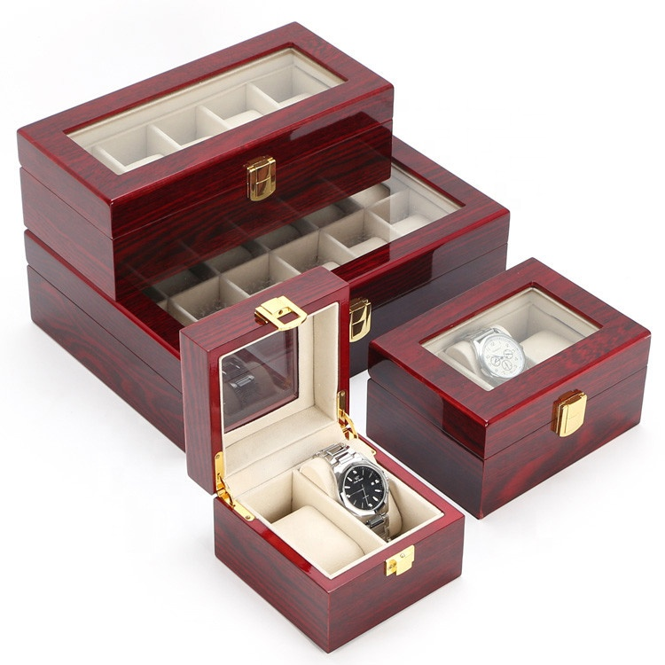 Luxury Custom Logo 6 slots 12 slots Watch Display Case Red Piano Lacquer Packaging Wooden Watch Box