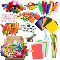 1000Pcs DIY Art Craft Sets Supplies for Kids Crafting Supplies Kits Pipe Cleaners-Colour Felt- Glitter Poms- Feather-Buttons