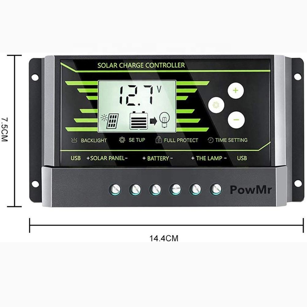 10A Solar Charge Controller 12V 24V Dual USB, Adjustable Parameter Back Light LCD Display and Timer Setting ON/Off Hours Z10A