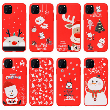 Christmas Gift Happy Red UV Printing Snowman Tree and Moose Phone Case For iPhone 11 pro 2019