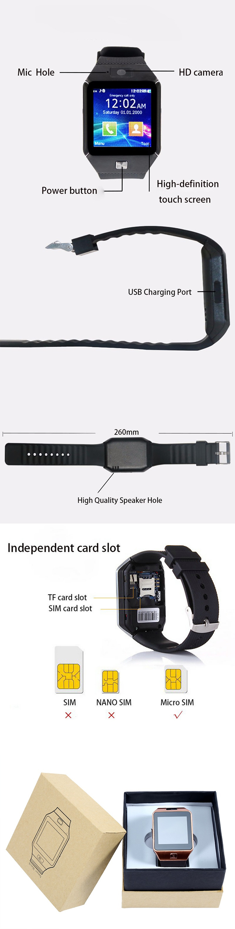 DZ09 gsm sim card android smartwatch dZ09 smart watch for smartphone