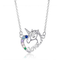 Fashion 925 sterling silver colorful cubic zirconia cute unicorn <strong>necklace</strong> for woman and girls