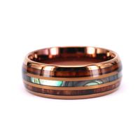 Double Koa wood Inlay Abalone shell in the Center Brown Promise Ring