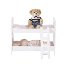 Europe Free Shipping Lovely Dollhouse Miniature Bunk Beds With Ladder 1/<strong>12</strong> Scale Pink and White Bunk 18 Inch Doll Bed for dolls