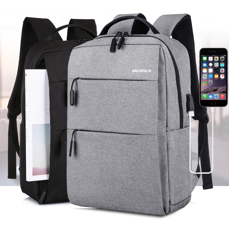 Unisex Travel Casual USB Charger Laptop Bag Smart USB Port <strong>Backpack</strong>