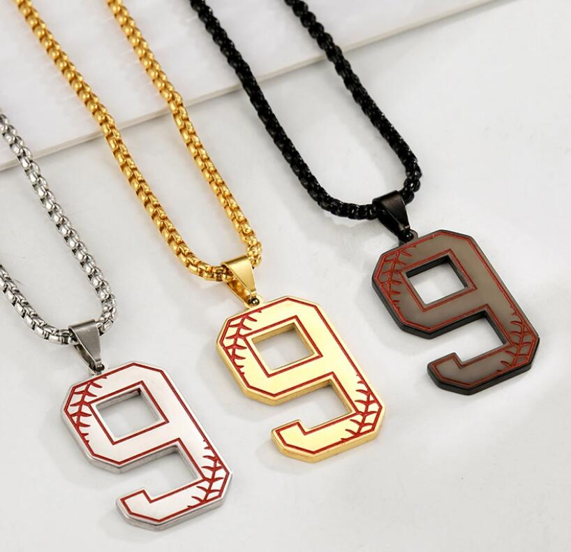 HL001Dropshipping Stainless Steel Silver and Gold 0-9 Numbers Baseball Sport Men Necklace Sport Number Necklaces