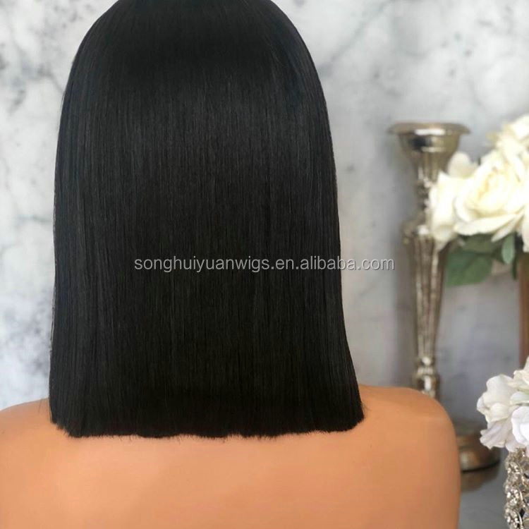 Preplucked Natural Black 12 Inch Human Hair Bob Lace Wig In Qingdao Factory Transparent For White Woman