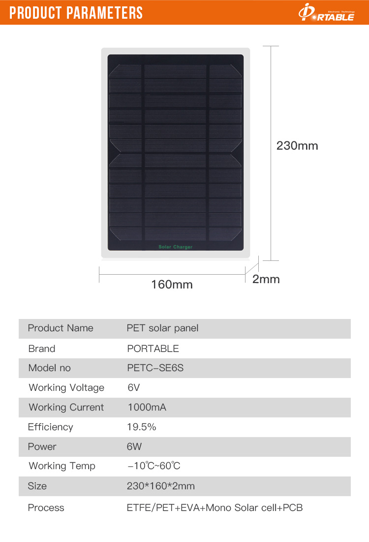 6w output power PET micro solar cell/mini small solar panel