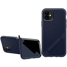 Unique Design Carbon Fiber Foldable Stand Cell Phone Case for <strong>iPhone</strong> 11 <strong>Ultra</strong> Thin Mobile Phone Case for <strong>iPhone</strong> 11 Pro