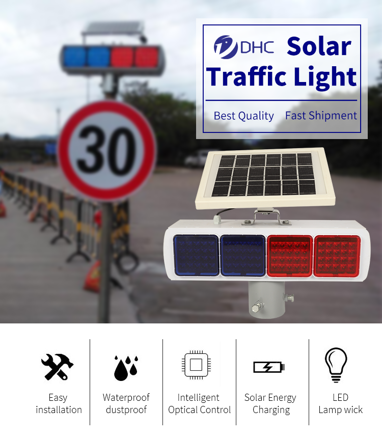 Solar-Led-Road Flash Warnung Licht Blinkende Verkehrs Warnung Lampe