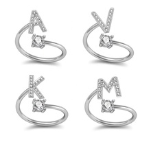 Custom Fashion Style Silver Plated Micro Pave Diamond 26 Letters A-Z Initial Opening Ring