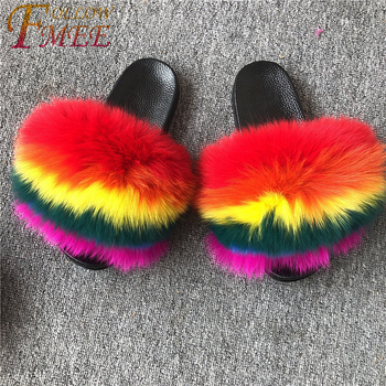 Women Large Fur Slides Custom Extra Fluffy Full Fox Fur Slippers Natural Big Fur Slides