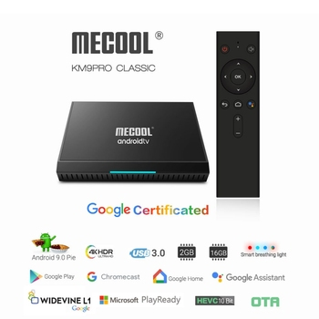 Google Certified OTA MECOOL Androidtv TV Box Android 9.0 KM9 PRO ATV DDR4 2GB RAM 16GB Amlogic S905X2 4K USB3.0 KM9 TV BOX