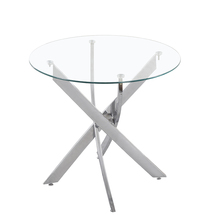 round stainless steel transparent glass top dining <strong>table</strong>