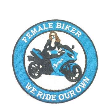 Fashion woman biker Embroidery patch GFT-E544