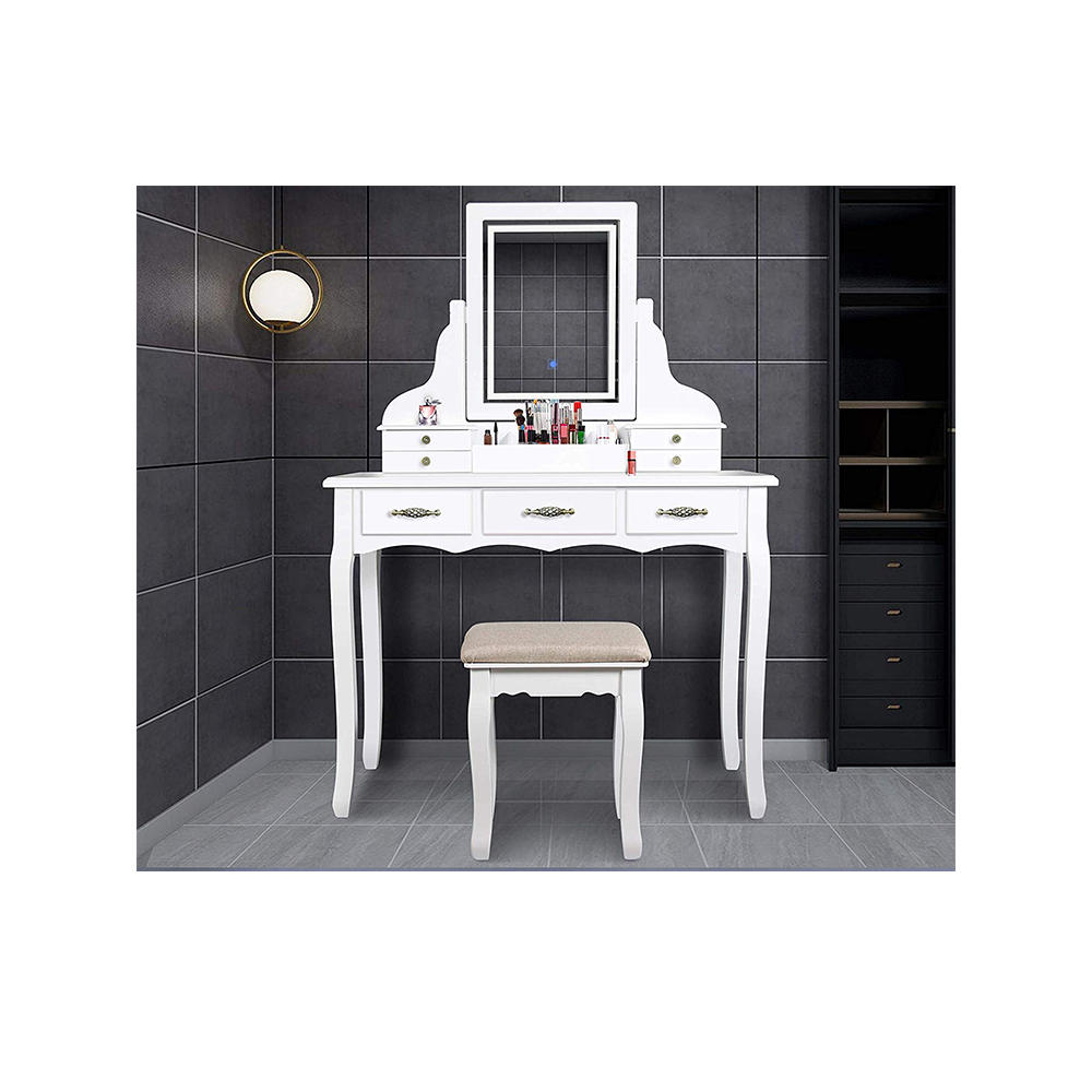 White Cushioned Stool <strong>Led</strong> Light Mirror Dressing Vanity Makeup Table