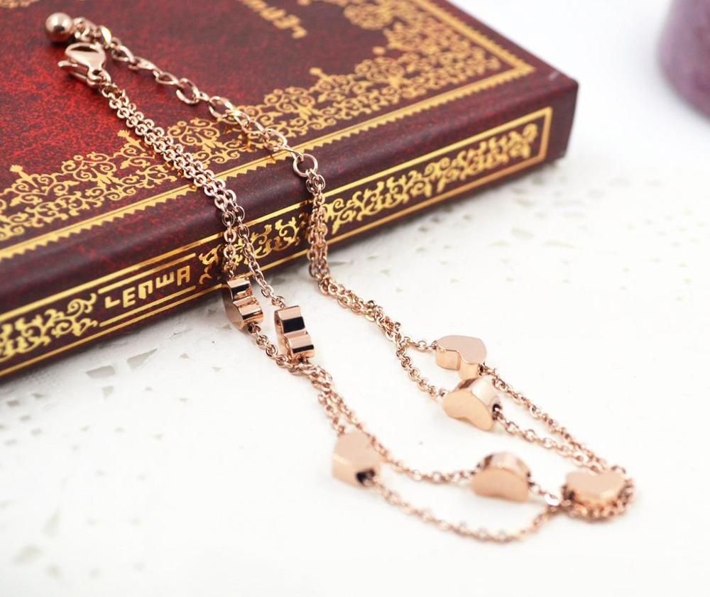 Hot Selling Rose Gold Plated Stainless Steel Two Layer Heart Shaped Chain Anklet Dylam jewelry