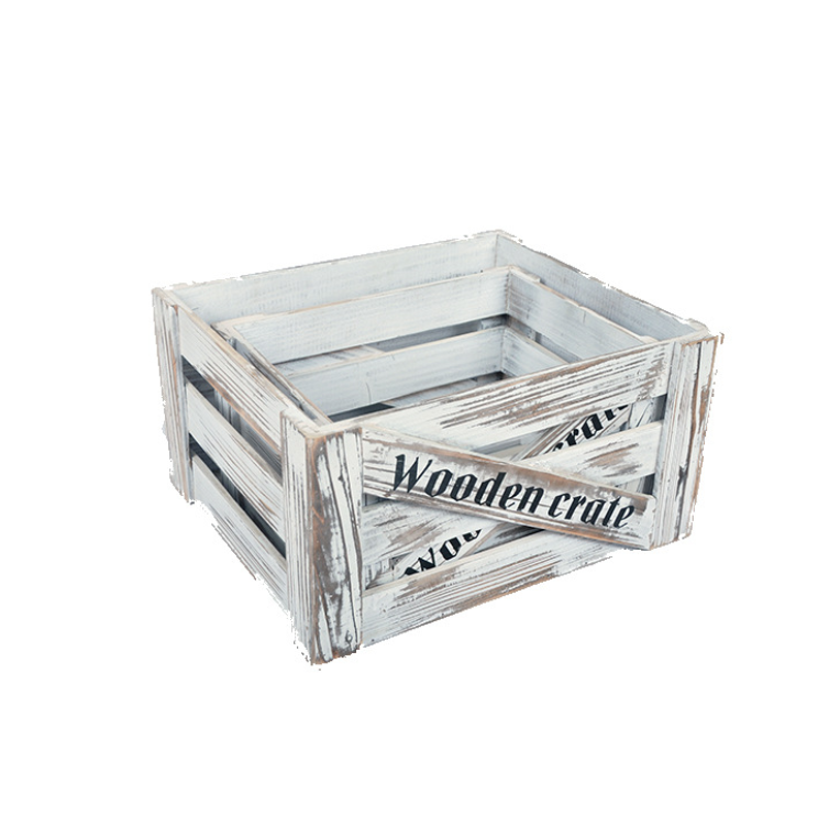 Rustic Wooden Crate Box Old White Storage Crates Fruits