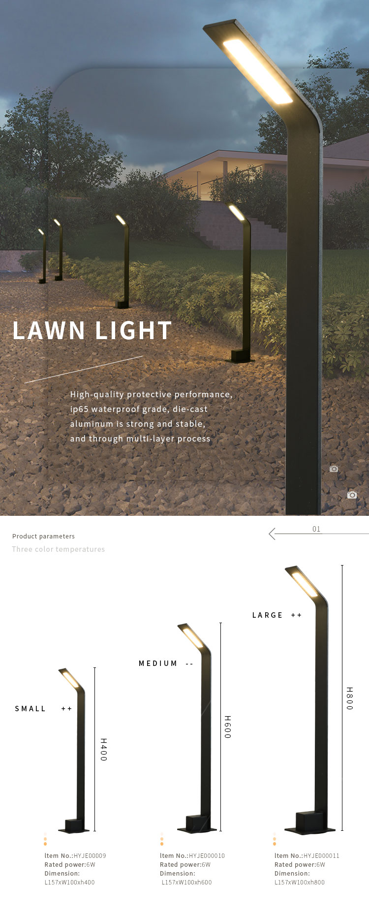 New product ip65 standing waterproof 6W Lawn Light garden LED lights home villas decorative garden pillar light outdoor