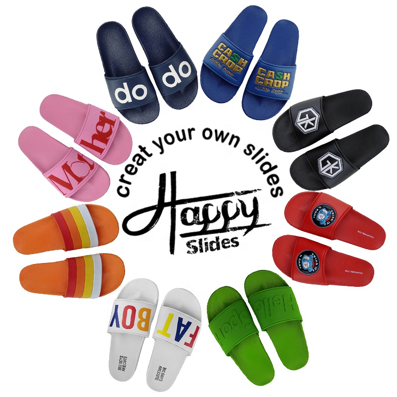 Happyslide <strong>slipper</strong> slides Footwear Men Summer Wholesale Indoor House Flat Custom Logo Designer Men'S Pvc Sandals <strong>Slippers</strong> Slides