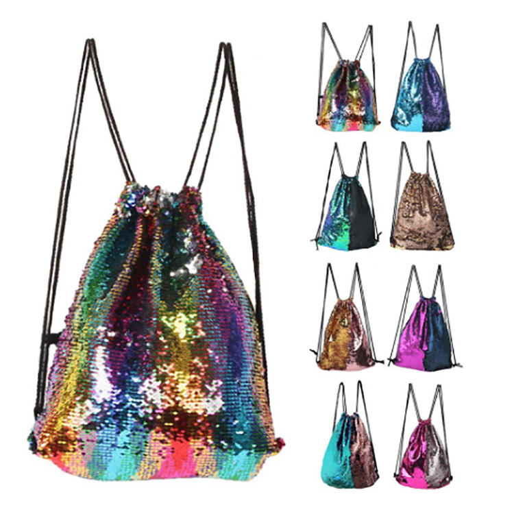 2018 Amazon hot sale magic mermaid reversible sequin drawstring <strong>bag</strong>, wholesale polyester custom LOGO sequin drawstring backpack