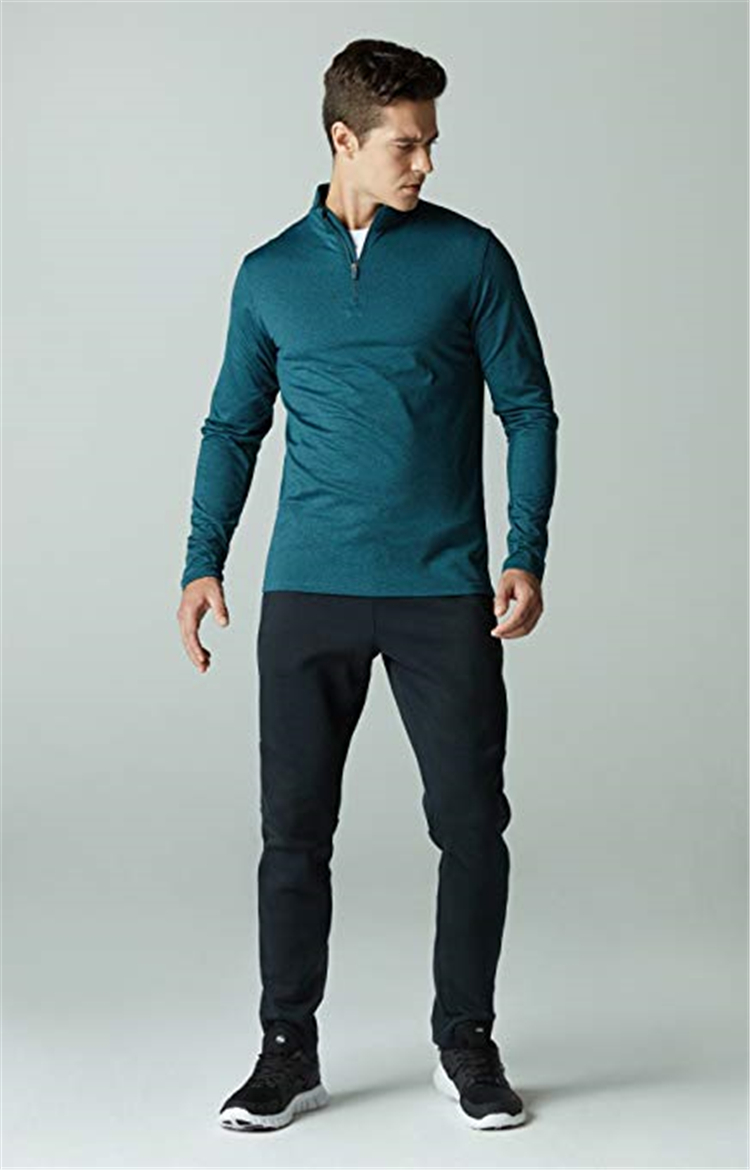 Byval Custom High quality Wholesale Gym Workout 100%Polyester Men Half Zip Men's Shirt Online Shopping