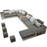 Modern Fabric Sectional Sofa 3 Seater Corner with Pillows Linen clothes L-Shape Couch with Extra Wide Chaise Lounge