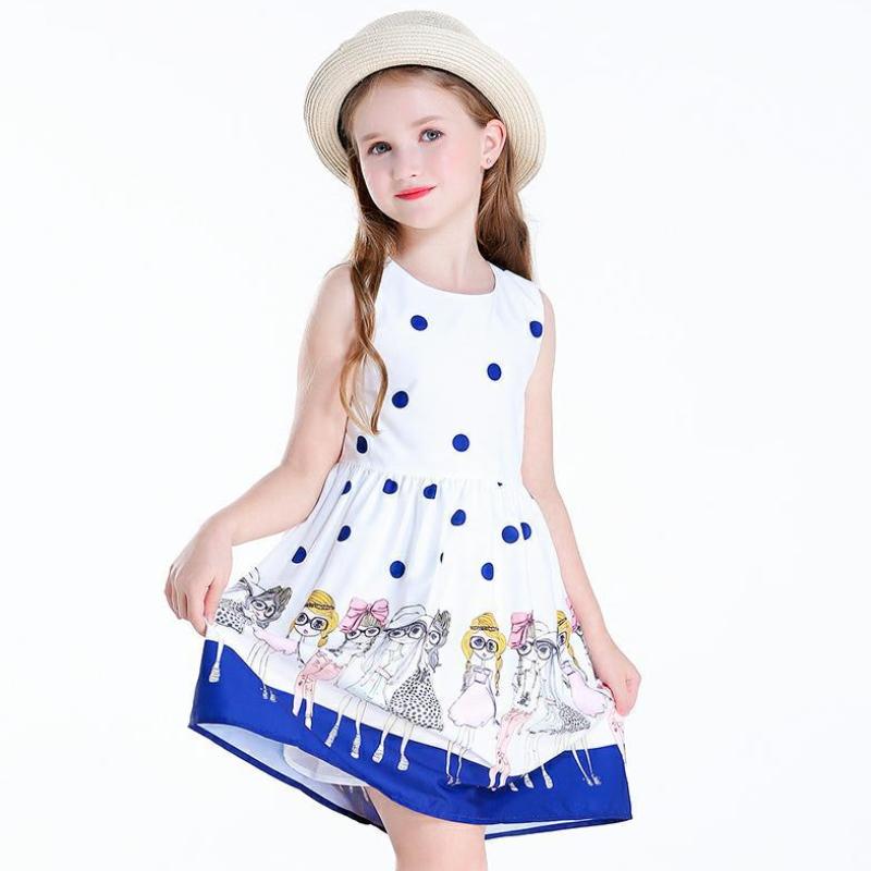 Children's Summer Clothing Girls  Dress Korean Kids Baby Girl Polka Dot Vest Dresses