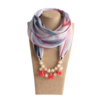 Women's Scarf Necklace Beads Pendant Ladies Scarfs Infinity Scarf with Jewelry Accessory