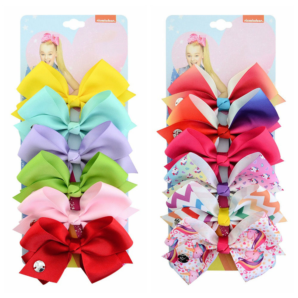6PCS set Boutique Grosgrain baby girl Ribbon bows Alligator hair Clips Hair Bows for girls