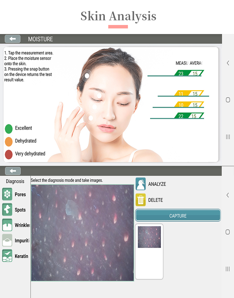 Wireless wifi portable facial skin scanner resistance value detection water and oil data