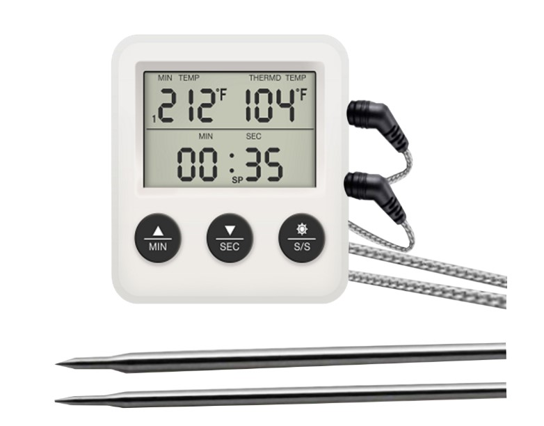 New Design Digital Alarm Dual Probe Meat thermometer With Countdown count up timer