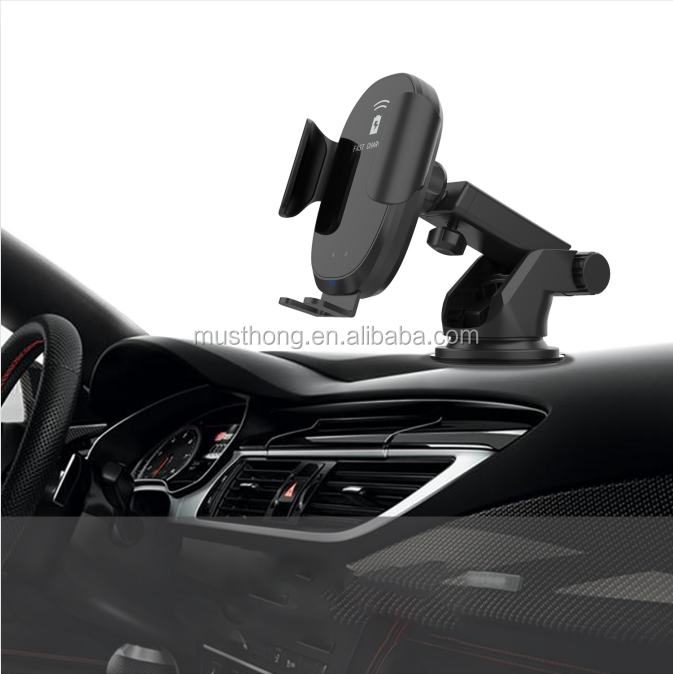 Cheapest Infrared Sensor Design Fast Wireless Car Charger for iPhone 11 Pro and One Touch Auto-Clamping Phone Holder for Samsung