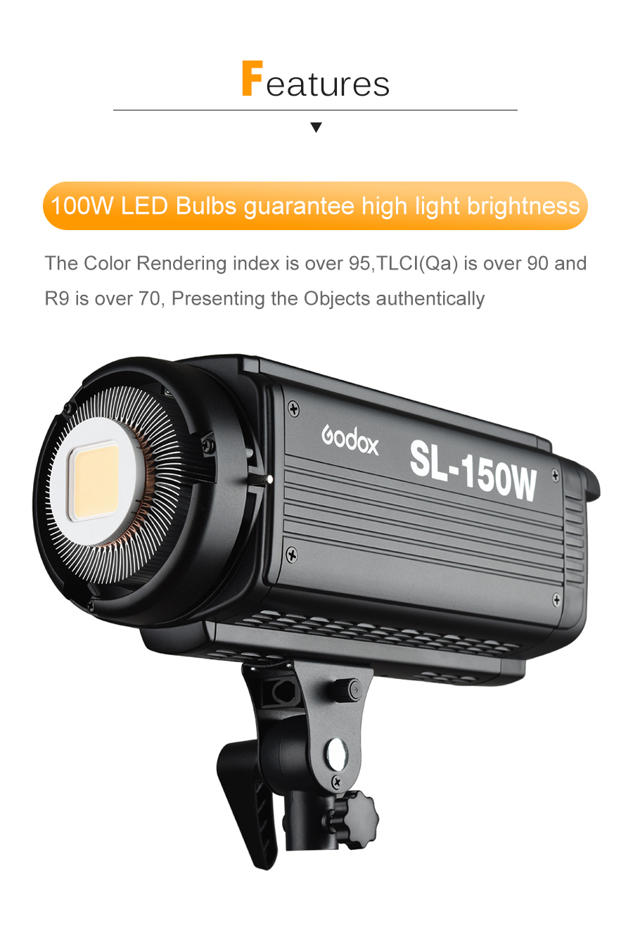 Godox SL-150W SL150W 150WS 5600K White Version LCD Panel LED Video Light Continuous Output Bowens Mount Studio Light