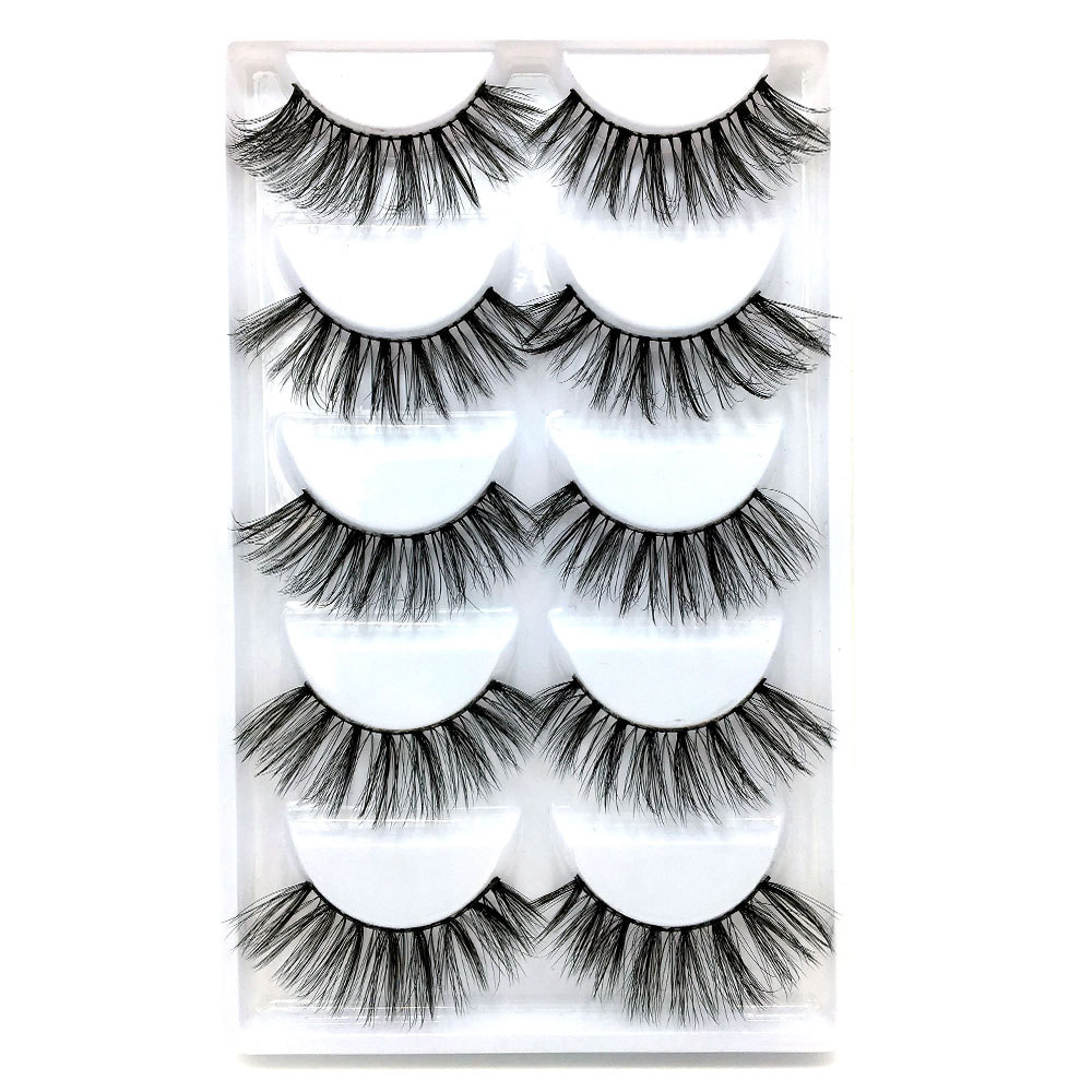 5 pairs faux 3d mink lashes false eyelashes natural long eyelash extension makeup handmade fake lash <strong>A06</strong>
