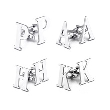 Wholesale stocks high quality silver colour 26 letters A to <strong>Z</strong> mens initial alphabet letter cufflinks