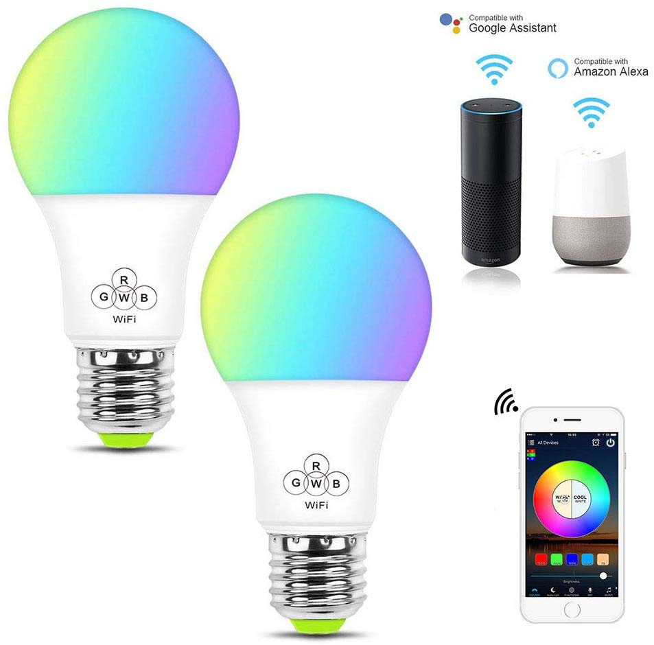 4.5W E27 Shenzhen Alexa Google Hom IFTTT RGB Color Changing Voice Control Warm Lighting Energy Saving LED Smart Wifi Lights <strong>Bulb</strong>