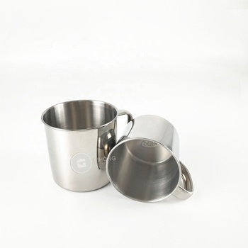 Promotion gift Cheap metal spinning mugs with lids/ stainless steel cups with handle