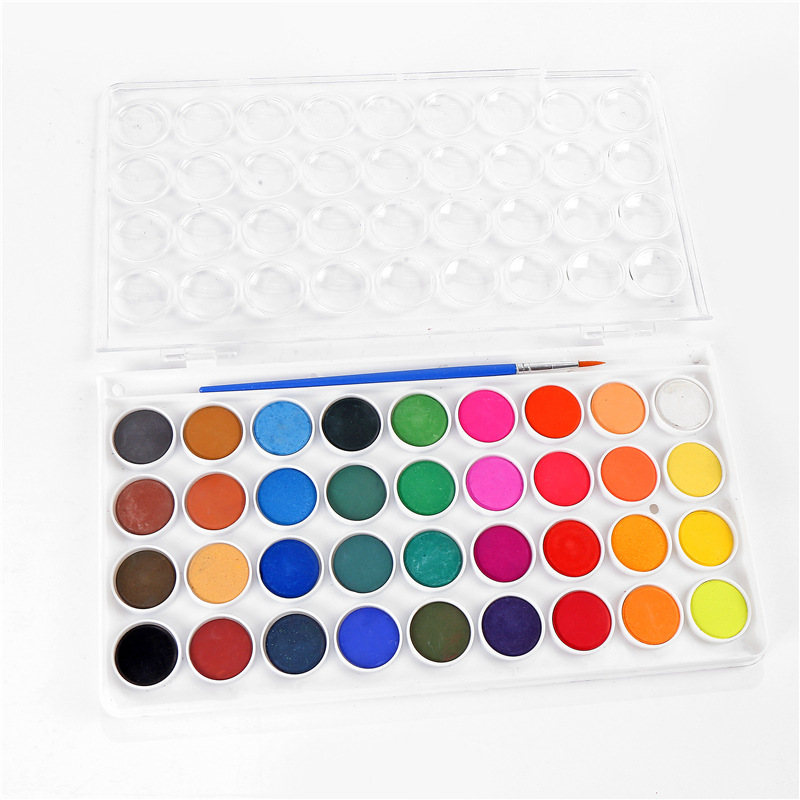 Low Price Luxury 24 Colors Solid Water Color Paint Cake With Paint Brush For Kids