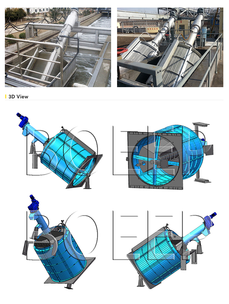 Advanced Technology Automatic Trommel Rotary Drum Screen Machine for Food Waste Water Treatment Ssolid Filtration