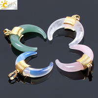 CSJA natural stone crescent half moon luxury pendant opal pink crystal horn charms for necklace making F064