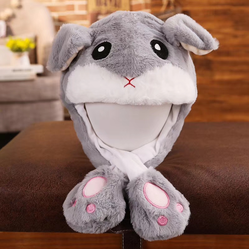 HI Soft Plush Colorful Bunny Ears Moving Ear Rabbit Hat For Sale