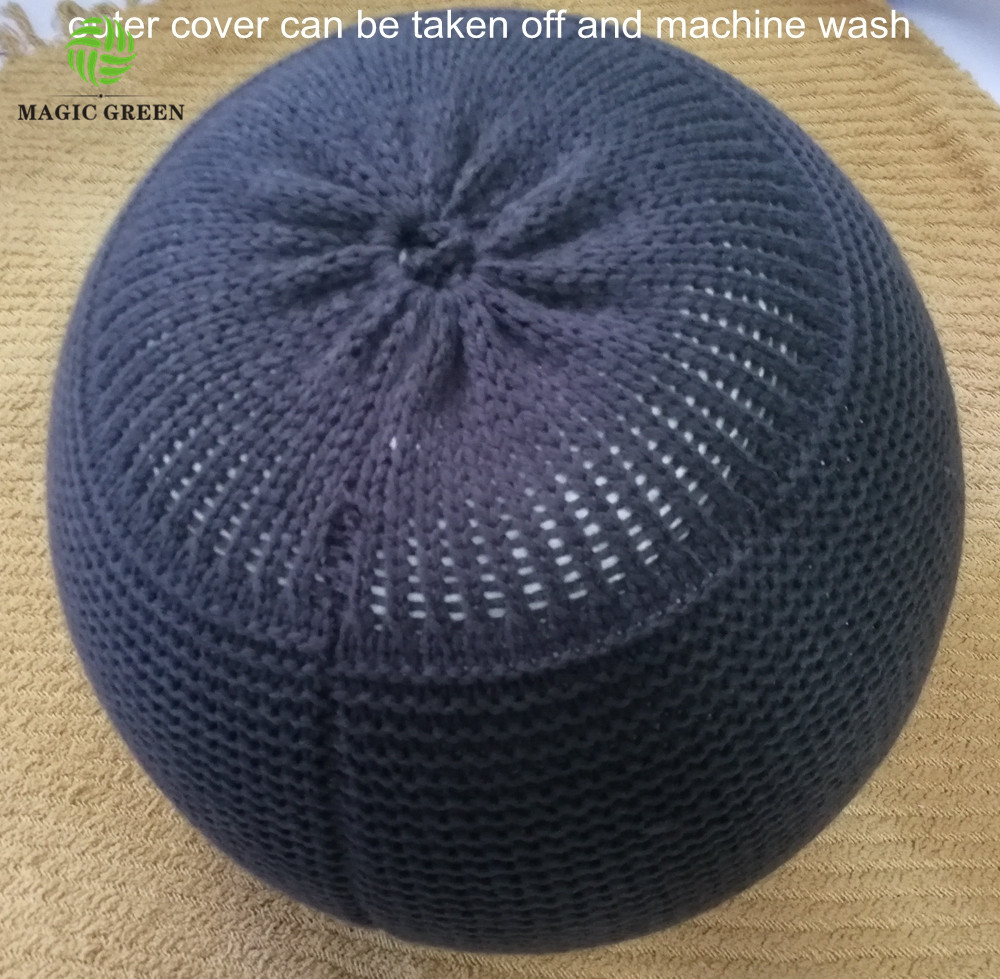 machine washable 100% cotton acrylic micro bean filled pillow cushion ottoman Lazy Sofa Creative Knit Bag ball chair pouf