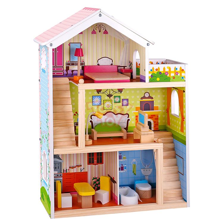 Happy family house bed kids baby big furniture toys classic wooden doll house for baby