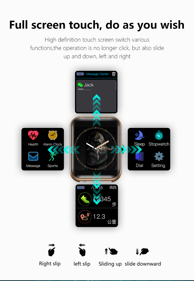 Wearable Smart Watch IP68 Waterproof Multi Language Blood Oxygen Sport Monitor Message Call Reminder Fitness Track Smart Watch