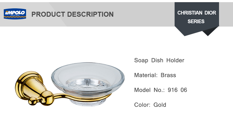 Newest Stylish Bathroom Wall drilling Gold Color Chrome Plated Soap Dishe Holder