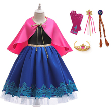 New Girl Anna Princess Dress Girls Snow Queen Cosplay Costume Kids For Halloween Birthday Party Anna Dresses Girl Clothing