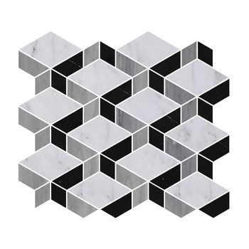 Matin Bell Black and White Water Jet Marble Mosaic Bianco Carrara Mixed Nero Marquina